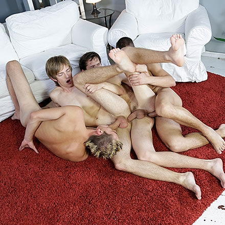 Cock-crazed foursome dishes up oodles of hot twink jizz! HD