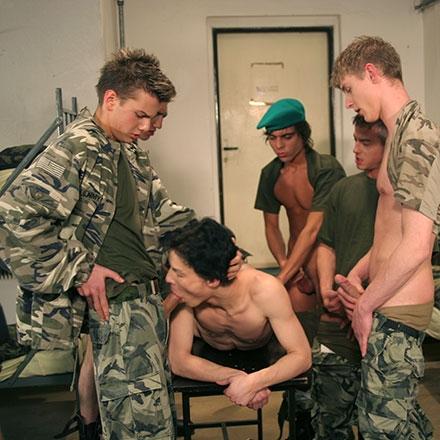 An explosive orgy in the barrack dorm