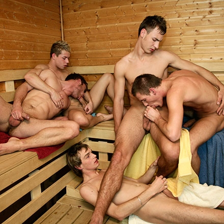 Sauna room cock-sucking orgy