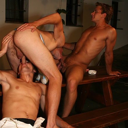 Double fucked by two raw studs