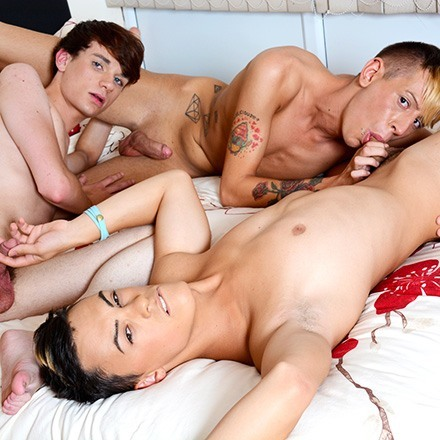 Innocent Playmates? With A Dildo & Three Hard, Uncut Cocks It's Not Fuckin' Likely! HD