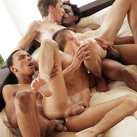 Horny Interracial Twink Gets Cock