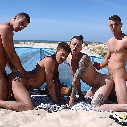 Two Horny Tops, Two Cock-Crazed Bottoms, One Beach. Result? One Fucking Hot Foursome! HD