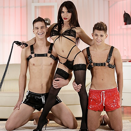 TS Twink Party, Sc.2: Two Horny Buddies Get The Spunk-Soaked She-Male Treatment! HD